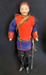 Rare-Antique-German-Bisque-Dollhouse-Miniature-SOLDIER-DOLL-molded-Mustache-6