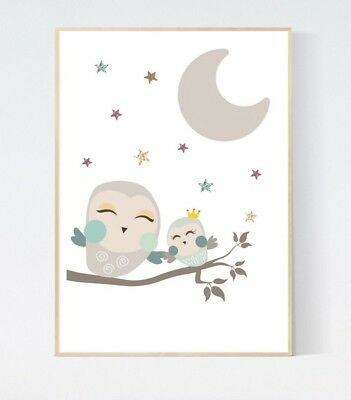 Cute Baby Owl with Stars Print Nursery Wall Art Baby Room Decor Picture Gift