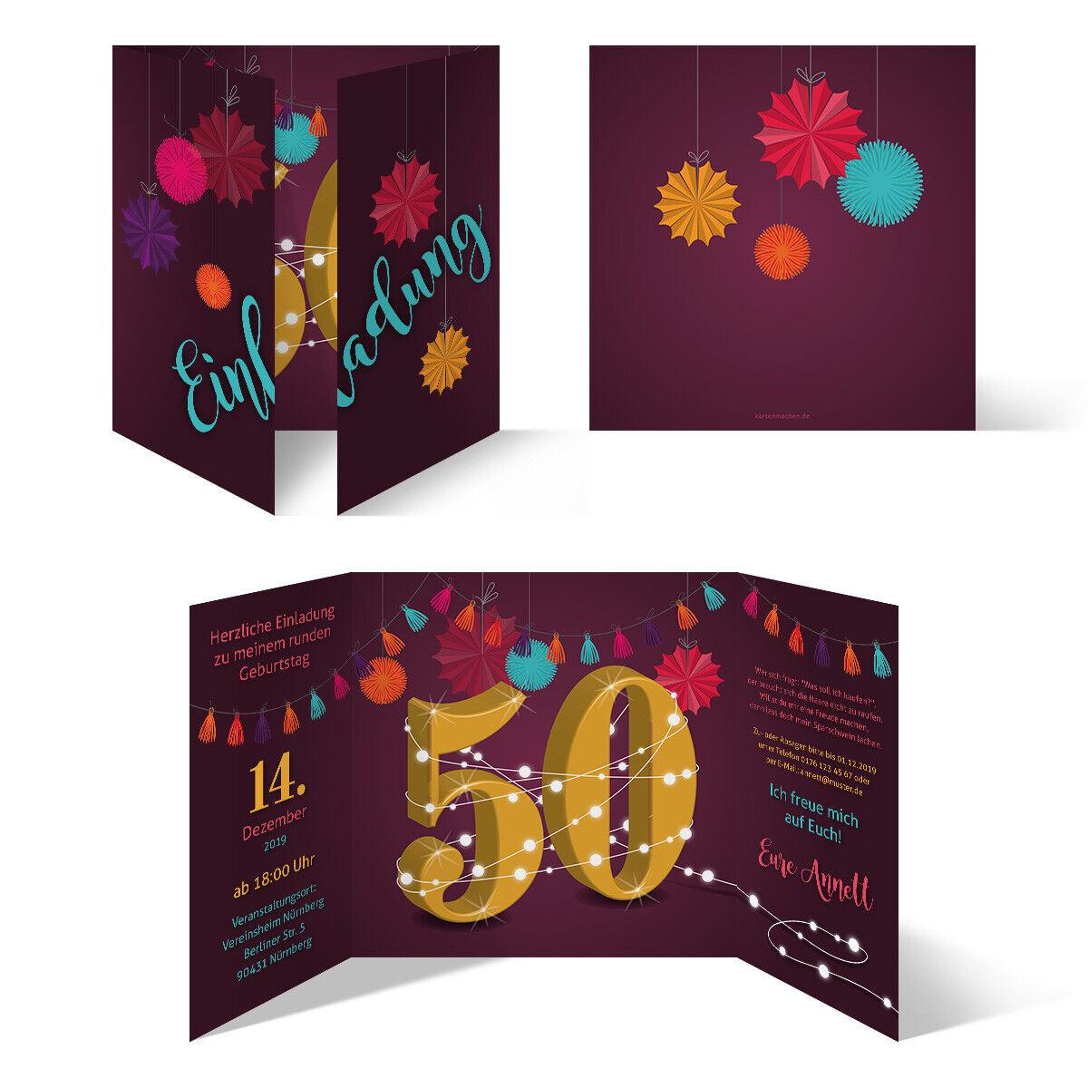 Runder 50. Geburtstag individuelle Einladungskarten Einladungen - Girlande | Guter weltweiter Ruf  | Diversified In Packaging