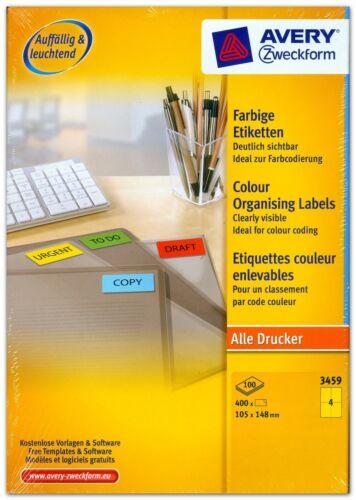 """Farbige Etiketten /""""gelb/"""" Menge nach Auswahl 105 x 148 mm AVERY ZWECKFORM 3459"""