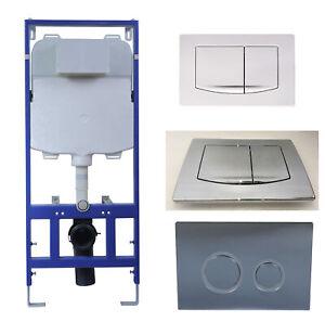 WC-Vorwandelement-Betaetigungsplatte-Chrom-Weisse-spuelrandlos-Wand