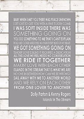 Ilhas Do Rio-Dolly Parton /& Kenny Rogers Lyric Letra Música Arte de parede