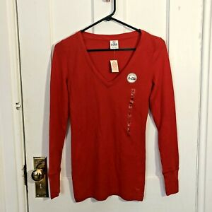 Victorias-Secret-Tshirt-Size-S-Long-Sleeve-Red-NWT-PINK-Brand-Small