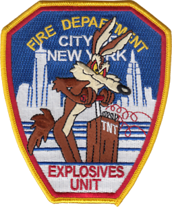 NEW-YORK-FIRE-DEPARTMENT-HOUSE-PATCH-Explosives-Unit-Wiley-Coyote