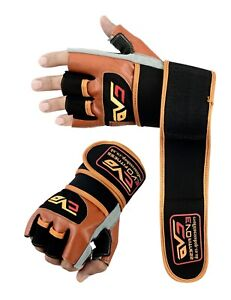 EVO-Fitness-Leather-Weightlifting-Gym-Cycling-Glove-Wheelchair-Wrist-Wraps-Strap