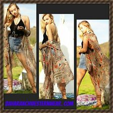 Bohemian AZTEC KIMONO DUSTER VEST Fringe Cowgirl Boho Gypsy Festival Scarf