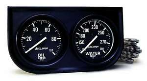 Auto-Meter-2392-Gauge-Console-2-034-Water-Temp-Oil-Pressure-Gauges-Black-Chrome