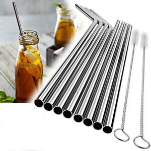 10-pcs-Stainless-Steel-Metal-Reusable-Cocktail-Drinking-Straws-Cleaner-Brush