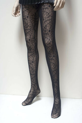 HALLOWEEN COSTUME  SPIDER WEB LACE FISHNET TIGHTS IN SM ML   BY COLLANT COUTURE