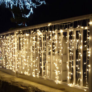 Details About Warm White Christmas Led Snowfall Icicle Lamp Window House Outdoor Fairy Lights
