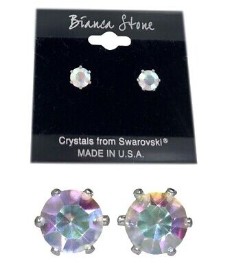 Bianca Stone Aurora Borealis Stud Earrings Crystals Made By
