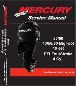 mercury 40 50 60 bigfoot 40 jet efi outboard motor service manual cd rh ebay com 2013 Mercury 60Hp mercury bigfoot 50 service manual