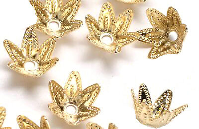 100 Gold Plated Ornate Star Bead Caps 7MM