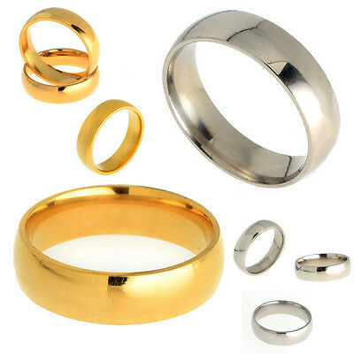 hot Men Women Silver/Gold Stainless Steel Comfort Fit Plain Wedding Band Ring
