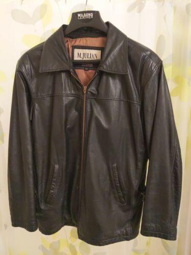 1990s Vintage Leather Jacket Black Mens Size L, Wi