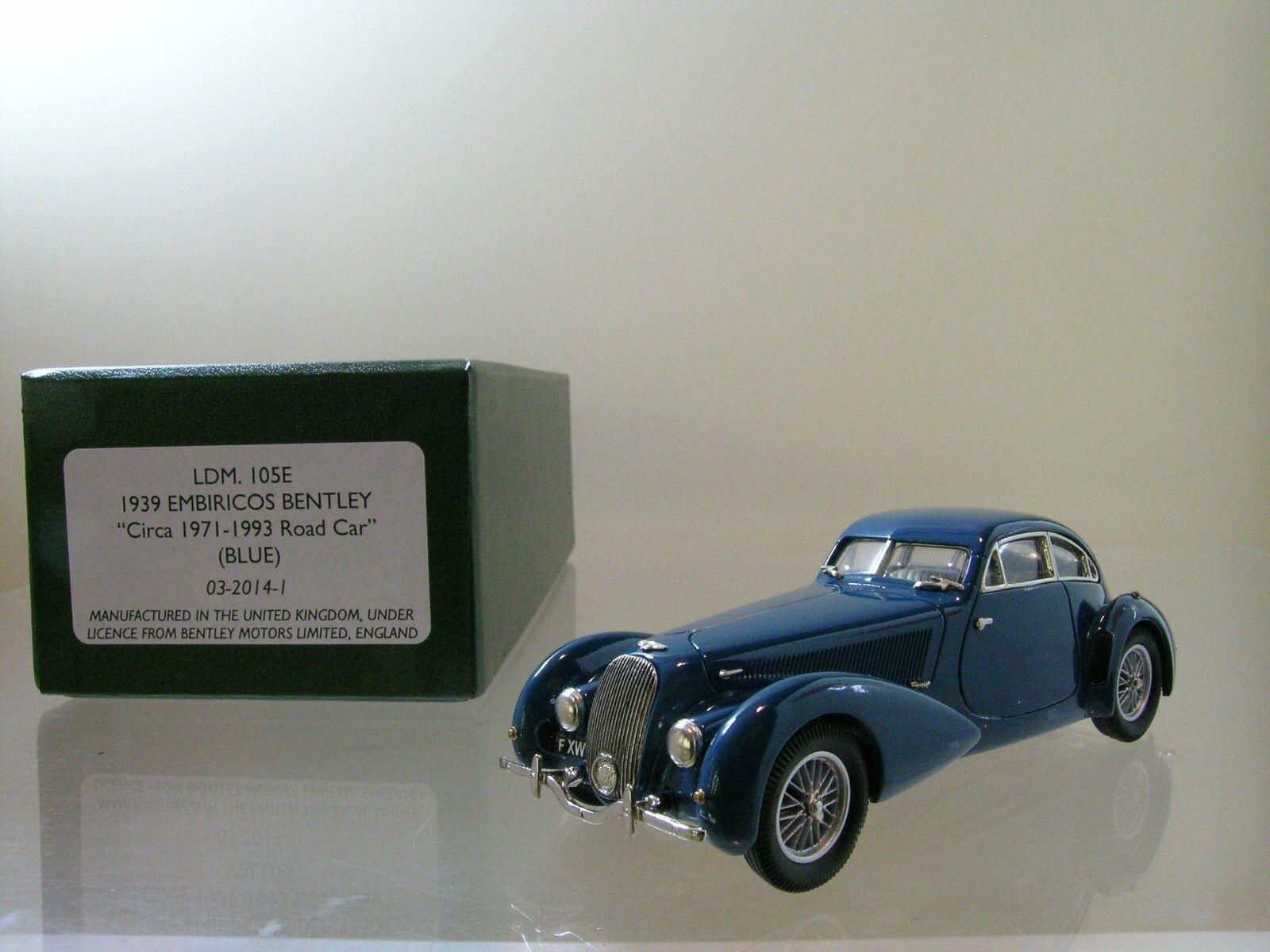 LANSDOWNE MODELS LDM105E BENTLEY EMBRICOS ROADCAR 1939 blu HANDBUILT + BOX 1 43