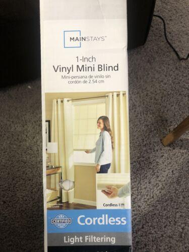 """39x64 Mainstay Cordless 1/"""" Vinyl Light Filtering Blinds White"""