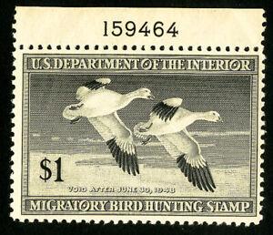 US-Duck-Stamps-RW14-VF-Single-Plate-OG-NH-Scott-Value-55-00