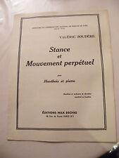 Partition Stance et Mouvement perpétuel pour Hautbois et Piano Valérie Soudère