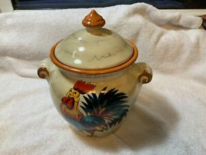 Vintage-Dario-Farrucci-Country-Rooster-9-Inch-Handled-Canister-Cookie-Jar