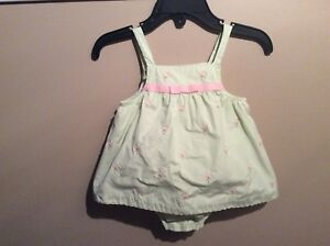 4fd921f6b631 Baby Girls JANIE and JACK Green Pink Flamingo Romper Outfit Sz 0-3 ...