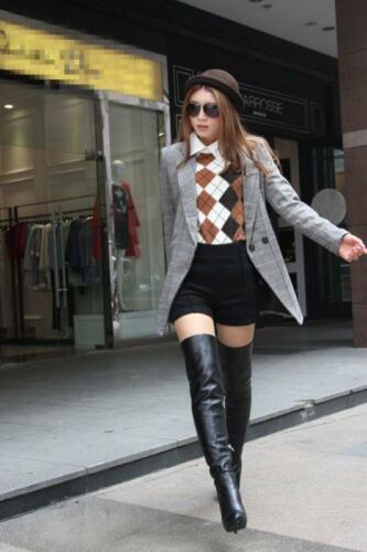 Stylish Womens Leather Stiletto Zipper High Heel Over The Knee Boots Thigh Shoes