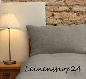 Bettwaesche-Set-Garnitur-2Tlg-Natur-Grau-100-Oko-Leinen-135x200-80x80-NEU-OVP