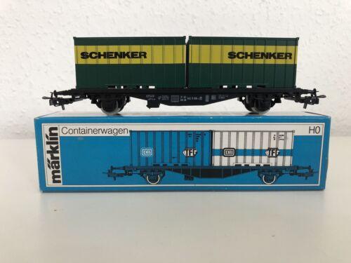 Spur H0 Märklin 4764 Containerwagen Schenker Neuwertig OVP