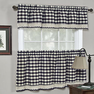 Buffalo Check Gingham Kitchen Curtains Tiers Or Valance Navy Ebay