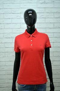 Maglia-Donna-TOMMY-HILFIGER-Taglia-S-Blusa-Manica-Corta-Shirt-Rossa-Jersey-Polo