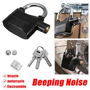2pcs 110db Alarm Padlock High Security Lock Motorbike Anti-Theft Home Door Keys