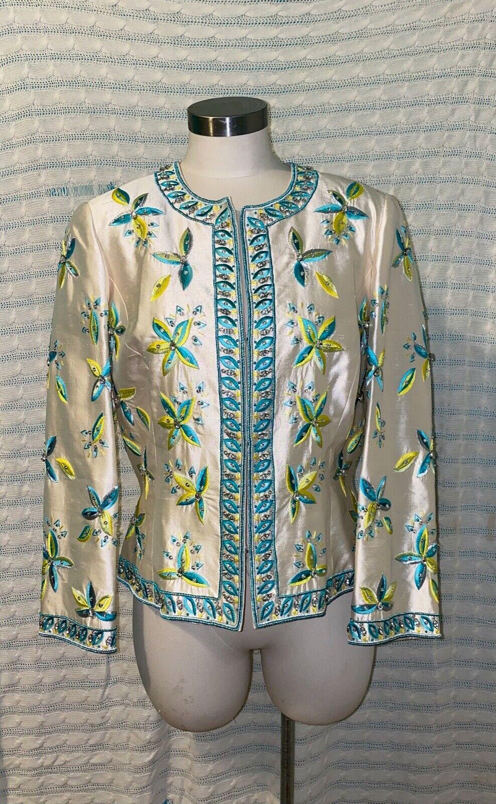 Etcetera Mother Of The Bride Wedding Jacket Ivory Teal 100% Silk Sz 12