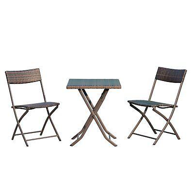 Outsunny  Set Tavolino da Giardino 3pz Tavolino con 2 Sedie Pieghevoli in Ratta