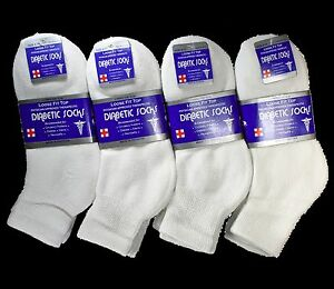 3-12 Pairs White Diabetic Ankle Quarter Crew Socks Health
