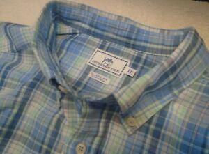 fbdc6f33e536 Details about Southern Tide Linen Cotton Blend Blue Plaid Skipjack Sport  Shirt NWT XXL $99.50