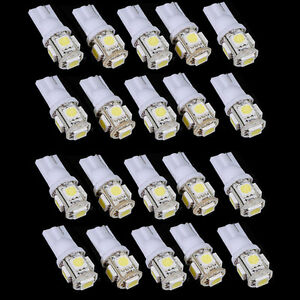 20x-T10-5050-W5W-5-SMD-194-168-LED-White-Car-Side-Wedge-Tail-Light-Lamp-Bulb-12v