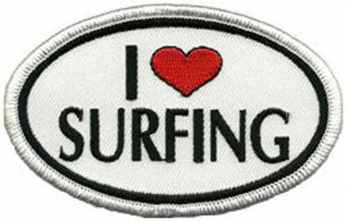 I Love Surfing Embroidered Patch Badge Iron Or Sew On 6cm x 4.5cm