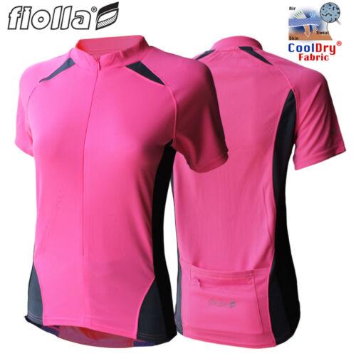 1//2 Zip Rose Fluo Fiolla Cyclo-Dri Manches Courtes Maillot de cyclisme