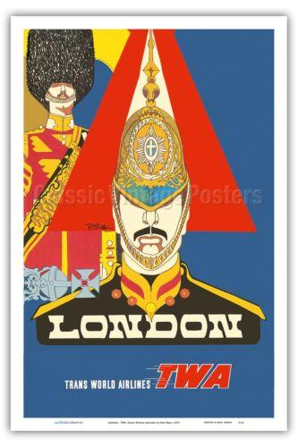 London Queen's Royal Guard TWA Bob Peak 1973 Vintage Travel Poster Print