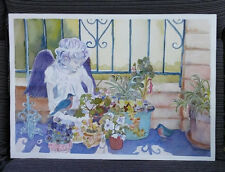 Garden Angel with Blue Birds Original Watercolor Painting RAMfish Artist
