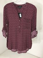 Atmosphere Women's V Neck Roll Tab Sleeve Geo Top Burgundy Us Sz 6