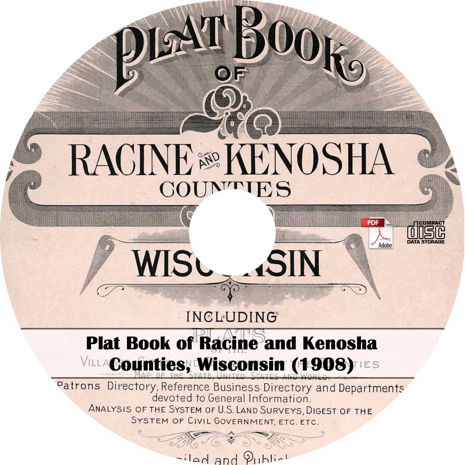 1908 Racine /& Kenosha County Wisconsin Plat Book WI Atlas Maps on CD