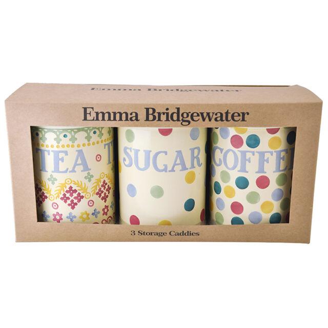 Set of 3 Emma Bridgewater Polka Dot Coffee Sugar Tea Tin Caddies