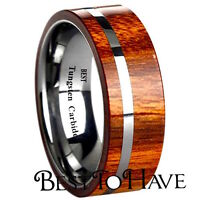 Koa Wood Inlay 8mm Mens Tungsten Carbide Wedding Band Ring