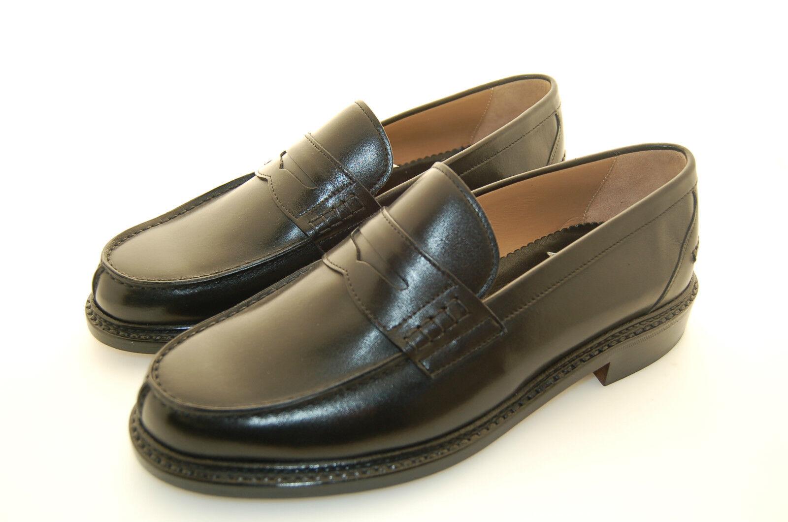 MAN -43 - 9eu - PENNY LOAFER - BLACK CALF - VITELLO black - LTH SOLE - F.DO CUOIO
