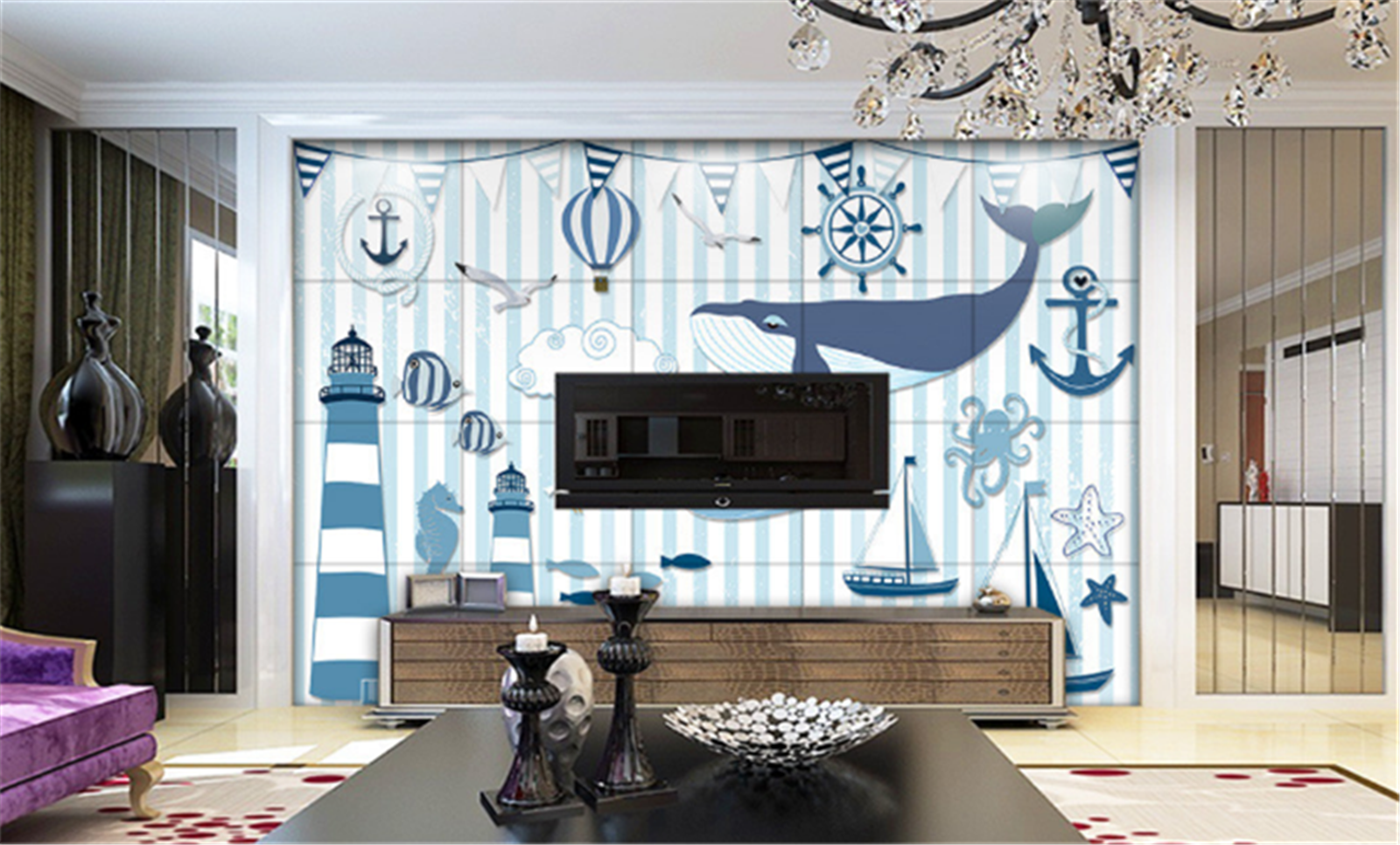 3D Comic Whale 78 Wallpaper Mural Paper Wall Print Wallpaper Murals UK Kyra