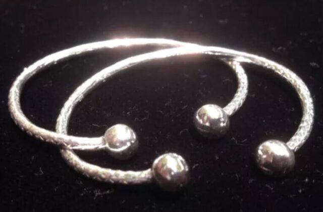 Pair Of Plain Ball Head Handmade West Indian Sterling Silver Bangles - Baby Size