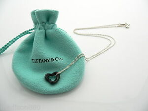 0271e70206868 Details about Tiffany & Co Silver Peretti Black Jade Open Heart Necklace  Pendant Charm Chain