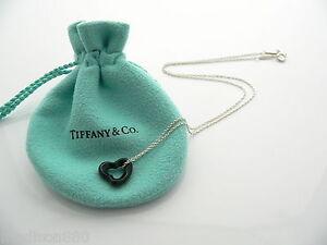 0ae7215f2 Tiffany & Co Silver Peretti Black Jade Open Heart Necklace Pendant ...