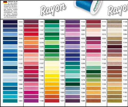 alle Farben lieferbar Madeira Stickgarn Rayon 40 Stickgarn 200 Meter